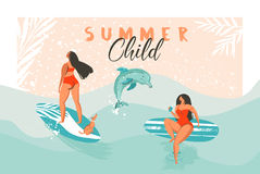 Hand drawn vector abstract summer time funny illustration poster with surfer girls in red bikini with dog on blue ocean. Hand drawn vector abstract summer time Stock Photos