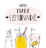 Hand drawn vector abstract summer time illustration with lemonade detox glass jar bottle,lemon slice and handwritten Royalty Free Stock Images