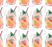 Hand drawn vector abstract summer time organic fresh fruits seamlees pattern with cocktail in glass bottle jar. Hand drawn vector abstract summer time organic Stock Photo