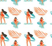 Hand drawn vector abstract summer time seamless pattern with surfers girl in bikini on the beach and tropical palm royalty free illustration