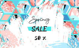 Free Hand Drawn Vector Abstract Textured Artistic Drawing Spring Sale Header Template With Hexagon Shapes And Hand Made Textures  Royalty Free Stock Image - 88414256