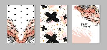 Hand drawn vector abstract textured cards template set collection with owl illustration,crosses and polka dot texture Royalty Free Stock Image