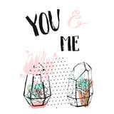 Hand drawn vector abstract textured collage with succulent plants in terrarium and handwritten calligraphy quote You and. Me in pastel colors isolated on white Stock Photography