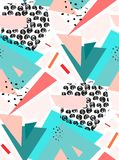 Hand drawn vector Abstract textured colorful geometric seamless pattern in blur and pink colors. Royalty Free Stock Photography