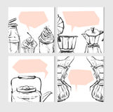Hand drawn vector abstract textured food card design template with graphic food and kitchen illustration for recipe,note Royalty Free Stock Image