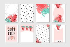 Hand drawn vector abstract textured funny summer time cards set template with watermelon slice in pastel colors isolated. On white background Stock Photos