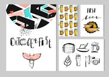 Hand drawn vector abstract textured octoberfest set Royalty Free Stock Images