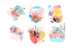 Hand drawn vector abstract textured trendy creative universal collage collection elements set with peony flowers motifs Royalty Free Stock Image