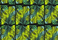 Hand drawn vector abstract tropical seamless pattern with exotic jungle palm leaves and freehand textures in green Stock Images