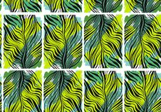 Hand drawn vector abstract tropical seamless pattern with exotic jungle palm leaves and freehand textures in green. Colors.Wedding,birthday,save the date Stock Photos
