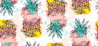 Hand drawn vector abstract tropical seamless pattern with pineapple in pastel colors and freehand textures isolated on Royalty Free Stock Photo