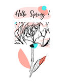 Hand drawn vector abstract universal creative Hello Spring greeting card with graphic flower in pastel colors isolated Stock Photography