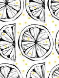 Hand drawn vector abstract unusual summer time seamless pattern with lemon slice and freehand texture isolated on white Royalty Free Stock Photo