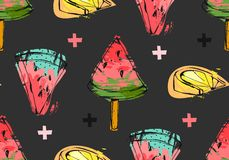 Hand drawn vector abstract unusual summer time seamless pattern with watermelon slice,icecream,lemon and crosses Stock Image
