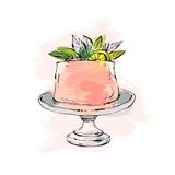 Hand drawn vector abstract watercolor textured cake on cake stand with lemon,flowers and leaves in peach colors isolated Stock Image