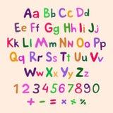 Hand-drawn vector alphabet. art children vintage Royalty Free Stock Photo
