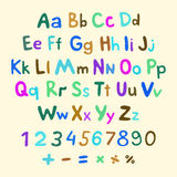 Hand-drawn vector alphabet. art children vintage Royalty Free Stock Photography