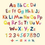 Hand-drawn vector alphabet. art children vintage Royalty Free Stock Images
