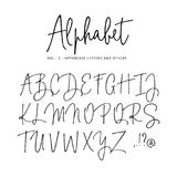 Hand drawn vector alphabet. Modern monoline signature script font. Isolated upper case letters, initials written with. Marker, ink. Calligraphy. Lettering royalty free illustration