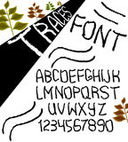 Hand drawn vector alphabet with numbers in black and white style similar to the marks. Vector Royalty Free Stock Images
