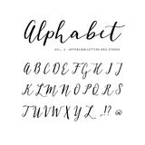 Hand drawn vector alphabet. Script font. Isolated letters written with marker, ink. Calligraphy, lettering. Stock Image