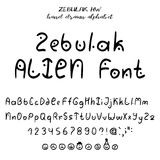 Hand drawn vector alphabet. Hand drawn alphabet, written font in style of alien lettering: upper- and lowcase latin letters, numbers, some punctuation and royalty free illustration