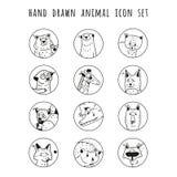 Hand drawn vector animals icon set. Stock Photo