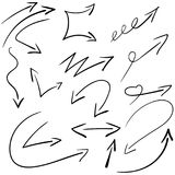 Hand drawn vector arrows set. Vector EPS. Drawing lines Royalty Free Stock Photo