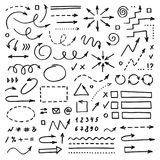 Hand drawn vector arrows set on white background stock image