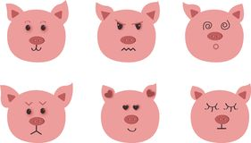 Hand drawn vector art of pig. Nine character emotions: happy, sadness, anger, love, surprise. vector illustration