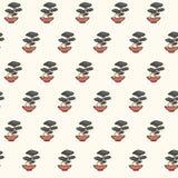 Hand drawn vector asian seamless pattern containing japanese bonHand drawn Royalty Free Stock Photo