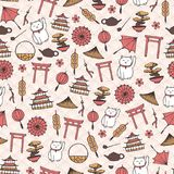 Hand drawn vector asian seamless pattern with umbrellas, japanese lucky cats, coins, lanterns, bonsai and torii gates on royalty free illustration