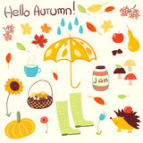 Hand drawn vector autumn theme elements Stock Photography