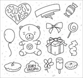 Hand drawn vector baby's elements. Doodle teddy Stock Photography