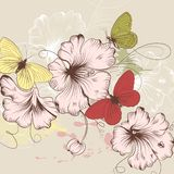 Hand drawn vector background with flowers and butterflies Royalty Free Stock Image