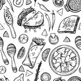 Hand drawn vector background - Mexican food Royalty Free Stock Images