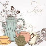 Hand drawn vector background with tea in vintage style Stock Photography