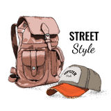Hand drawn Vector Backpack and cap. Vector illustration Stock Photo