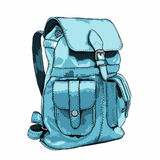 Hand drawn Vector Backpack. Mountain tourist equipment. Vector illustration Stock Image