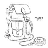 Hand drawn Vector Backpack and pocket watch on a chain. It`s time to travel Concept.  Vector illustration Stock Photo