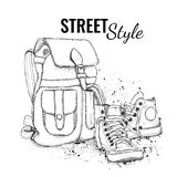 Hand drawn Vector Backpack and sneakers. Vector illustration Stock Images