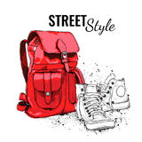Hand drawn Vector Backpack and sneakers. Vector illustration Royalty Free Stock Photography