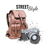 Hand drawn Vector Backpack and vintage camera on background. It`s time to travel Concept.  Vector illustration Royalty Free Stock Images