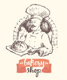 Hand drawn vector baker man bakery shop sketch Stock Images