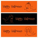 Halloween ghost animals banners Royalty Free Stock Photography