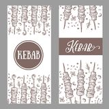 Hand drawn vector banners of kebab on skewers. Meat on the grill. Cartoon style kebab on a white background. Meat food. Traditional meat dish on fire Royalty Free Stock Photo