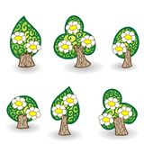 Hand drawn vector blooming tree set Stock Photo