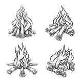 Hand drawn vector bonfire set Stock Photos