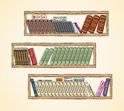 Hand drawn vector books on the bookshelves Stock Images