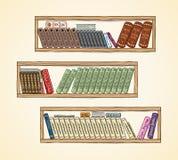 Hand drawn vector books on the bookshelves Stock Images